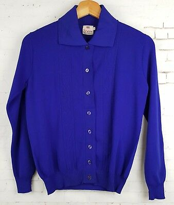 Ladies 60s /70s Unworn Vintage Purple Bri Nylon Collared Cardigan -10/12- EK67