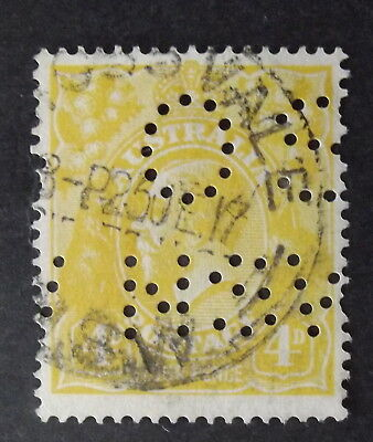 AUSTRALIA - 4d YELLOW KGV PERFIN OS NSW - USED