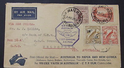 FANTASTIC  1934 NEW GUINEA 1st OFFICIAL AIR MAIL COVER - NO 4