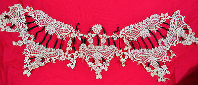 Vintage C 1900 Lovely Collar For Dress Elaborate Lace Fine Crochet irish