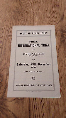 Scotland v The Rest 1956 Rugby Union Final Trial Programme