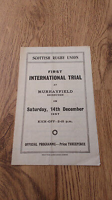 Blues v Whites 1957 Rugby Union Scotland First Trial Programme