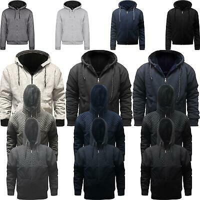 Mens Womens Fur Lined Plain Hoodie Hooded Top Sherpa Fleece Jacket Winter M-4Xl
