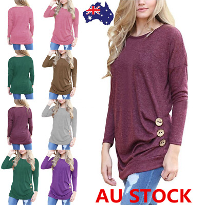 Women Casual Loose Long Sleeve Shirt Batwing Sleeve Side Button Pullover Tops