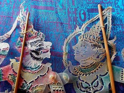 2 Vintage Hand Crafted Indonesian~Eastern Shadow Puppets Made From Hide