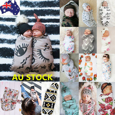 Newborn Baby Cotton Swaddle Muslin Blanket Infant Sleeping Bag Swaddle Wrap+Hat