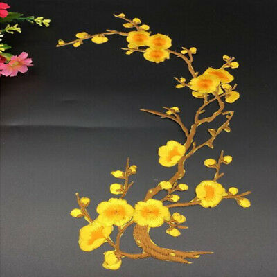 Plum Blossom Flowers Clothing Embroidery Patch Iron On Sew On Sticker Applique
