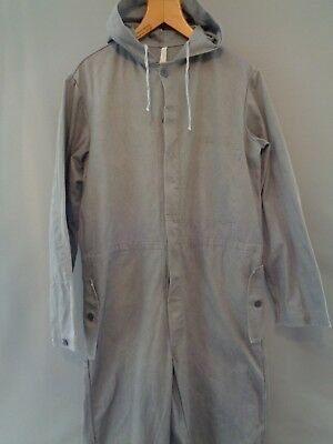 Vtg grey cotton hooded coveralls jump boiler suit work chore pants overalls