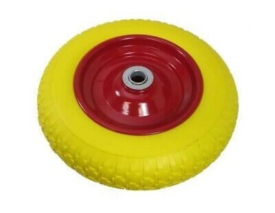 "14"" Pu Foam Filled Solid Wheelbarrow Wheel Puncture Proof Yellow Tyre Axel 1"""