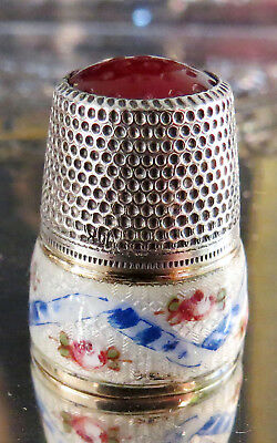 Sterling 800 Silver Guilloche Enamel with Carnelian Stone Thimble- 5 Grams