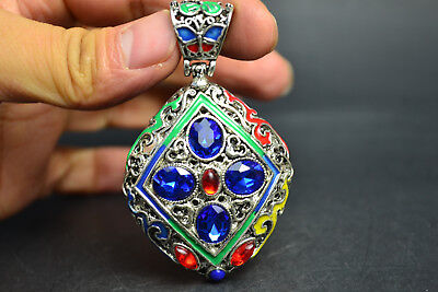 Old Handwork Tibet Silver Cloisonne blue and red bead beautiful Pendant