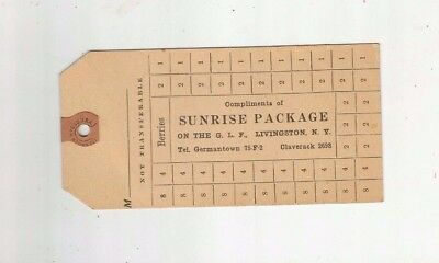 Sunrise Package LIVINGSTON-GERMANTOWN-CLAVERACK NY 1920 BERRY Tag Dennison