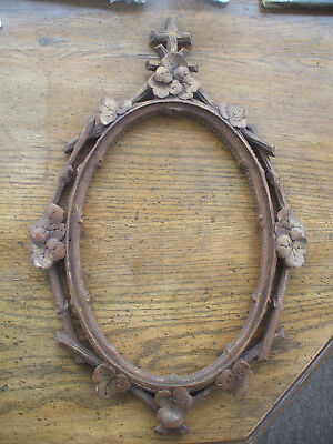 Pretty Vintage French Wooden Picture Frame With Cross Crowned With Flowers