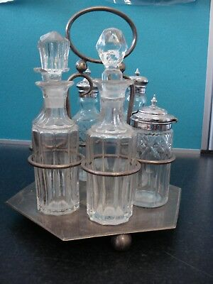 Vintage 6 Piece Condiment Set on R&G Silver Plate Mounting.