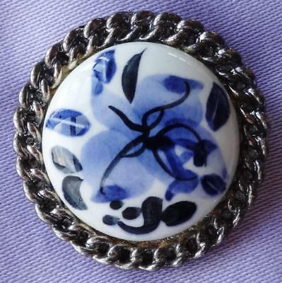 Vintage Blue & White Ceramic Floral Brooch by EXQUISITE