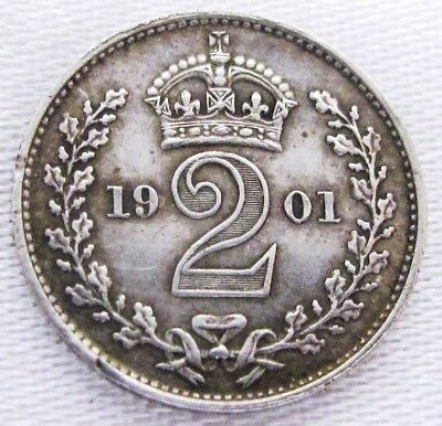 Maundy Money, 2 Penny Coin, Queen Victoria, 1901, Nice Condition