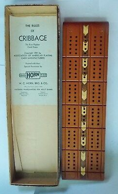 Fine Antique Cribbage Board, Cherrywood, Marked McCrillis No.C-5 with box