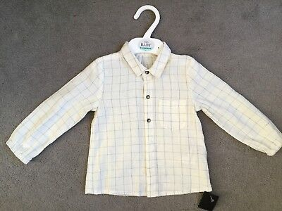 M&S CREAM SHIRT WITH BLUE SQUARES & LONG SLEEVES WITH ELASTICATED ENDS -9-12m BN