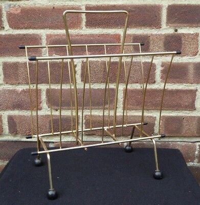Vintage Retro Metal Sputnik Atomic Magazine Rack Paper Storage