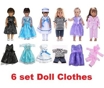 6 Sets Doll Clothes Suits Dress for 18'' American Girl Doll Princess Costumes