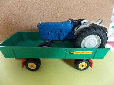 Vintage  Britains Farm Blue Ford 5000 Tractor ? And 8 wheeled Trailer