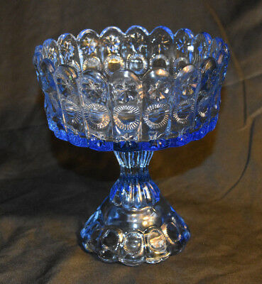 LG Wright Priscilla Light Blue Large Glass Compote Pedestal Dish Vintage