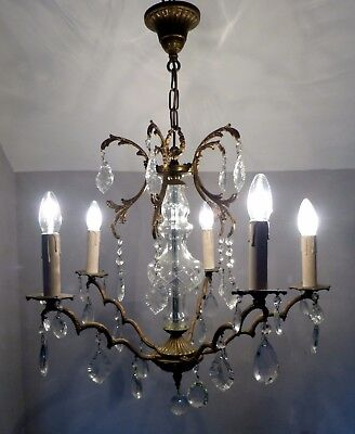 Very Elegant Vintage French Brass Chandelier with Cut Glass Centre and Crystals