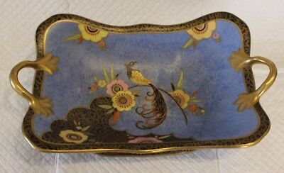 Carlton Ware 3354 Feathertailed Bird & Flower Handled Footed Dish