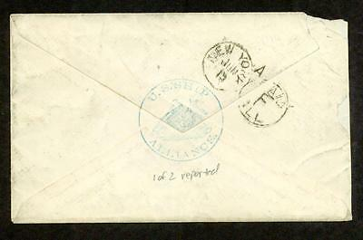 USS Alliance 1877 British Offices in Beyrout Cover, Blue Ship Handstamp on Back
