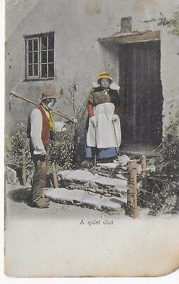 """VINTAGE Postcard Old Man and Old Woman """"A quiet Chat"""" Posted 1907"""