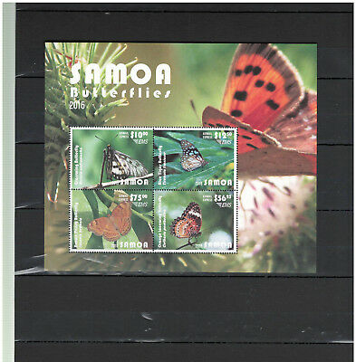 SAMOA 2015, Stamps, Nature, BUTTERFLIES, Flowers, AIRMAIL, EMS, MINT NH -