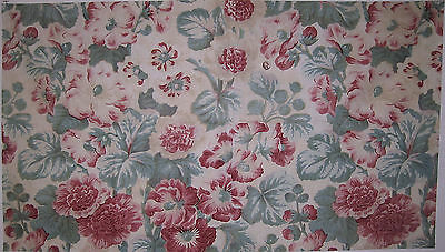 Vintage Beautiful 1930's French Floral Cotton Print Fabric (8777)