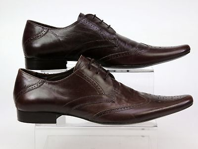 Mens Office Bruce Brown Leather Lace Smart Formal Work Brogue Shoes Size 7 Faded