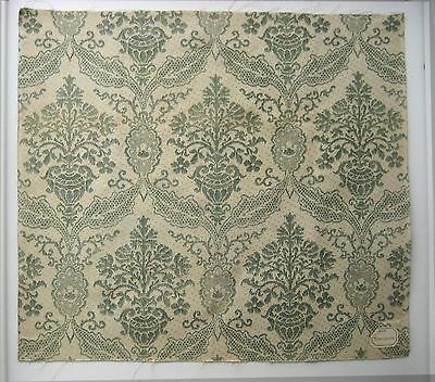 Antique Beautiful 19th C. French Damask Print on Linen  (9504)
