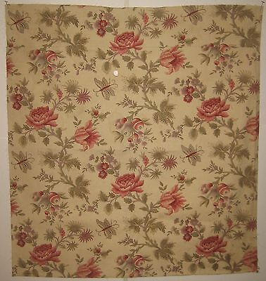 Antique Rare & Beautiful 19th C. French Exotic Floral Cotton Print Fabric (8466)