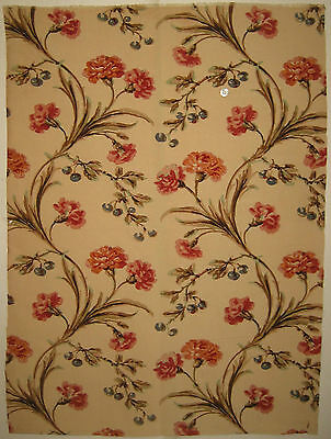 Beautiful  20th C. French Floral Cotton Print Fabric (9075)