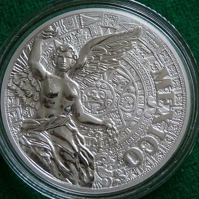 Mexico AZTEC CALENDAR WINGED VICTORY 1 Oz Silver Proof Medal Mint condition