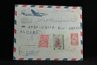 Yemen: 1953 Registered Airmail Cover to Aden, 3 Stamps