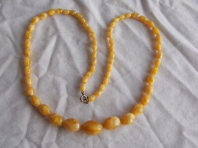 Beautiful Used Vintage Faux Butterscotch Amber Murano Glass Beaded Necklace