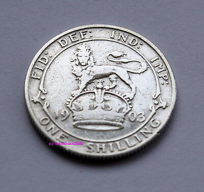 1903 Edward VII  Silver British English Shilling 92.5% (Sterling) silver