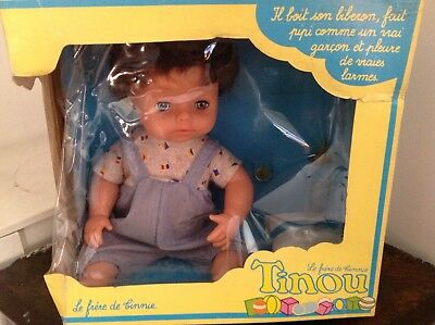 Vintage French Boxed NRFB Tiny Tears Timmy doll made in England TINOU