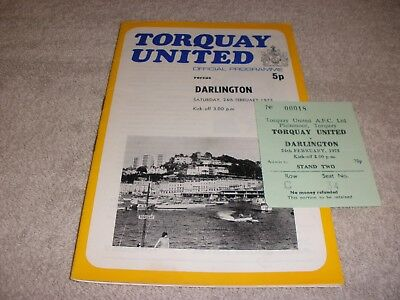 Torquay United v Darlington  24/2/73. With Ticket + League Football Mag. No. 729