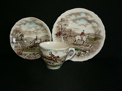 Vintage Alfred Meakin Tea Cup Saucer And Side Plate - The Chase - Fox Hunting