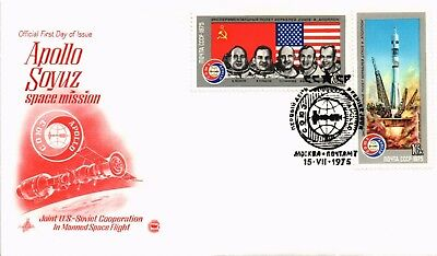 Dr Jim Stamps Apollo Soyuz Space Mission First Day Issue Ussr Russia Cover 1975