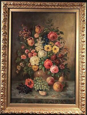 Large Signed Oil Painting - Classical Still Life Flowers In A Vase - With Fruit