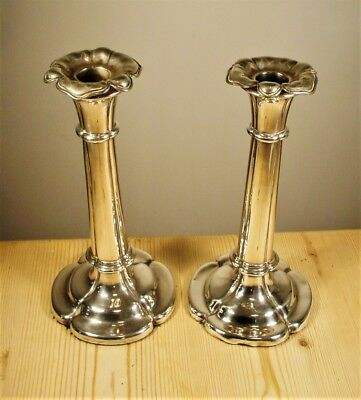 Antique Silver Plate Pair Tall Candlesticks