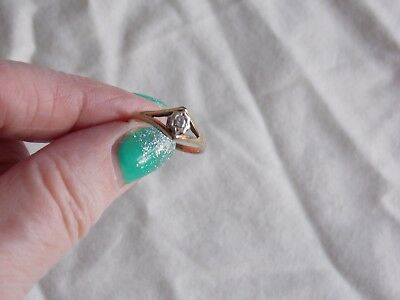 Vintage 1970/80S Hallmarked 9Ct Gold And Genuine Diamond Set Solitaire Ring