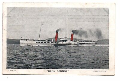 Post card of Paddle Steamer 'Glen Sannox' Caledonian Steam Packet Co. 1904(2631)