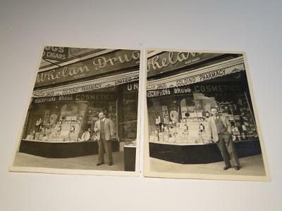 Two Vintage Black & White Photographs Whelan Drug Store NYC 44th & 8th Ave