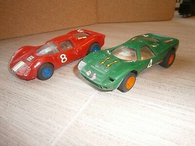 2 x vintage scalextric ? slot cars racing cars spares or repairs